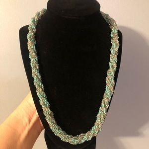 Very Pretty Beaded Rope Blue & Silver Necklace